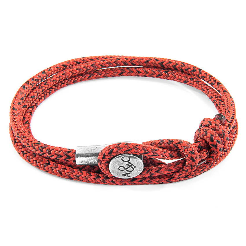Anchor & Crew Red Noir Dundee Silver and Rope Bracelet