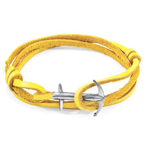 Anchor & Crew Mustard Yellow Admiral Anchor Silver and Flat Leather Bracelet