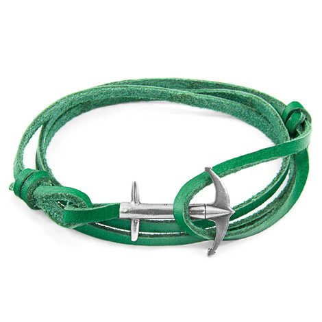 Anchor & Crew Fern Green Admiral Anchor Silver and Flat Leather Bracelet