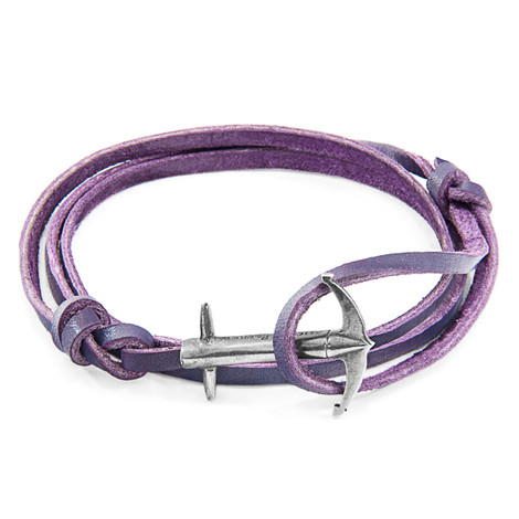 Anchor & Crew Grape Purple Admiral Anchor Silver and Flat Leather Bracelet