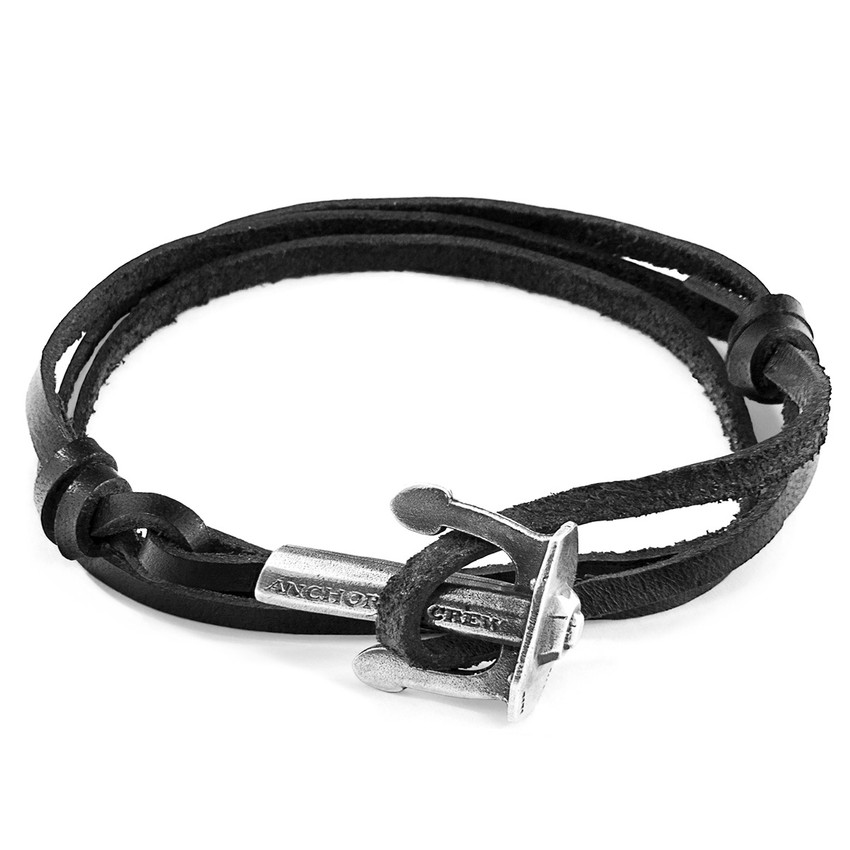 Anchor & Crew Coal Black Union Anchor Silver and Flat Leather Bracelet