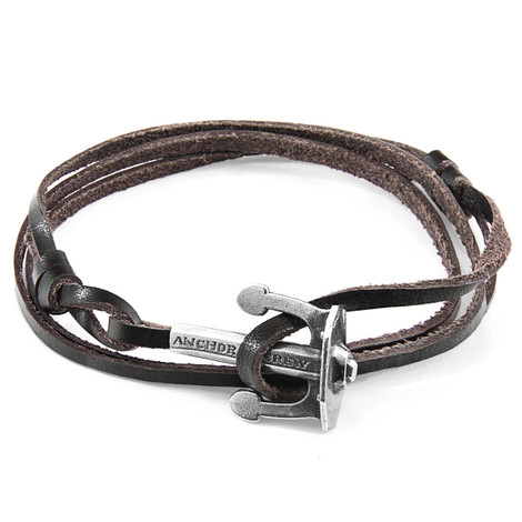 Anchor & Crew Dark Brown Union Anchor Silver and Flat Leather Bracelet