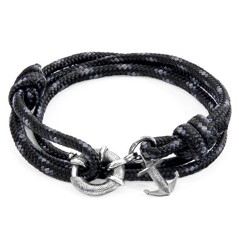Anchor & Crew Black Clyde Silver and Rope Bracelet