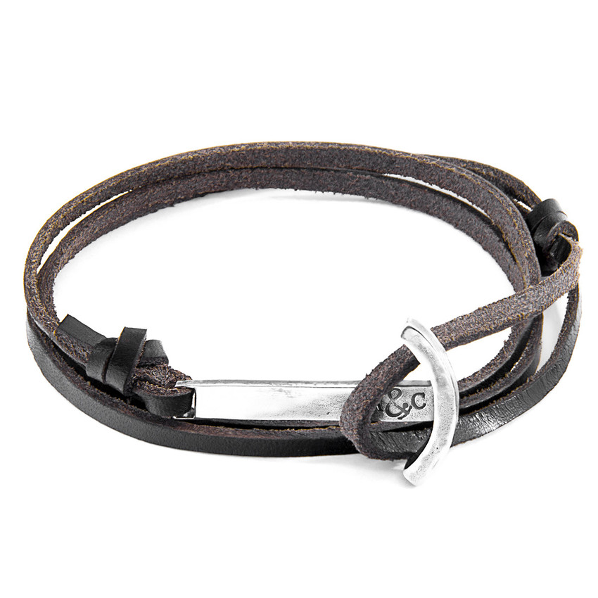 Anchor & Crew Dark Brown Clipper Silver and Flat Leather Bracelet
