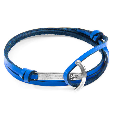 Anchor & Crew Royal Blue Clipper Silver and Flat Leather Bracelet