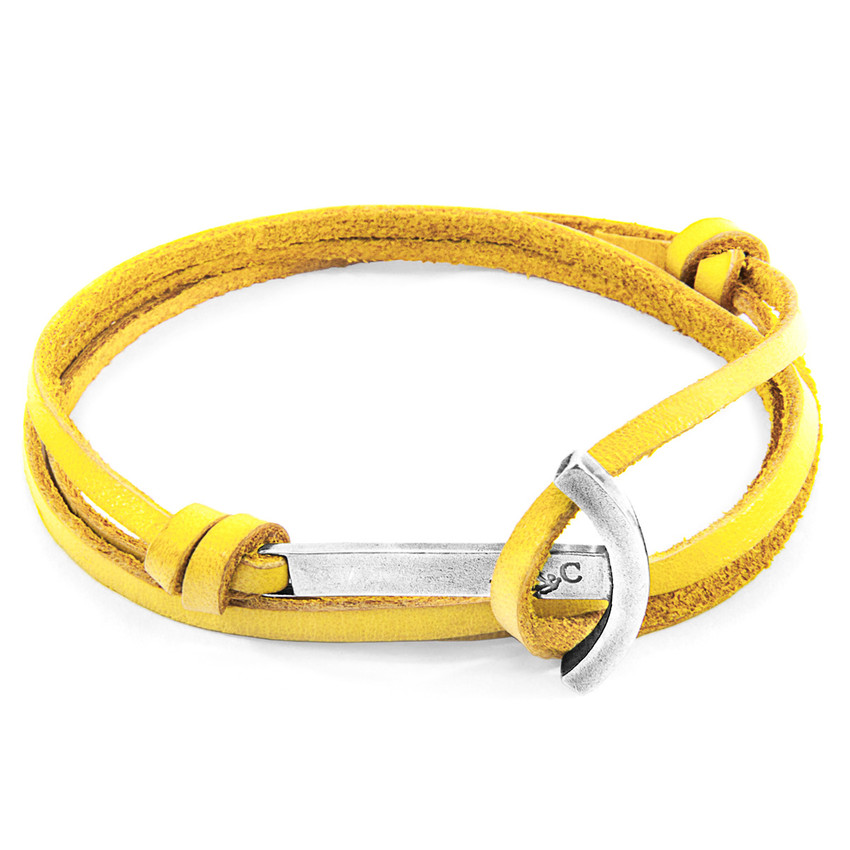 Anchor & Crew Mustard Yellow Clipper Silver and Flat Leather Bracelet
