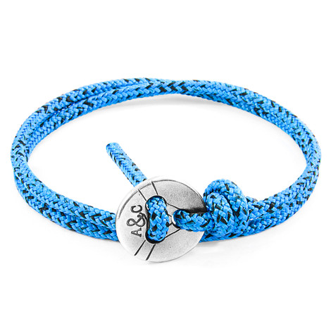 Anchor & Crew Blue Noir Lerwick Silver and Rope Bracelet