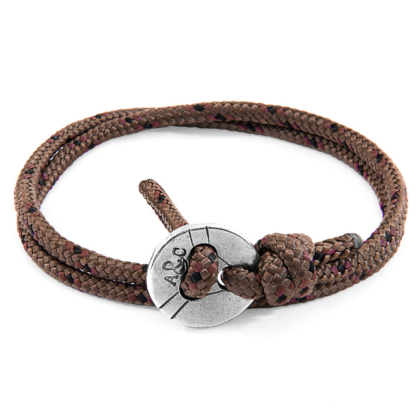Anchor & Crew Brown Lerwick Silver and Rope Bracelet