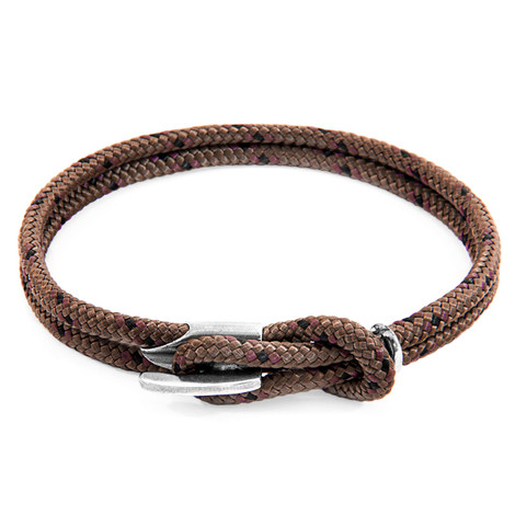 Anchor & Crew Brown Padstow Silver and Rope Bracelet