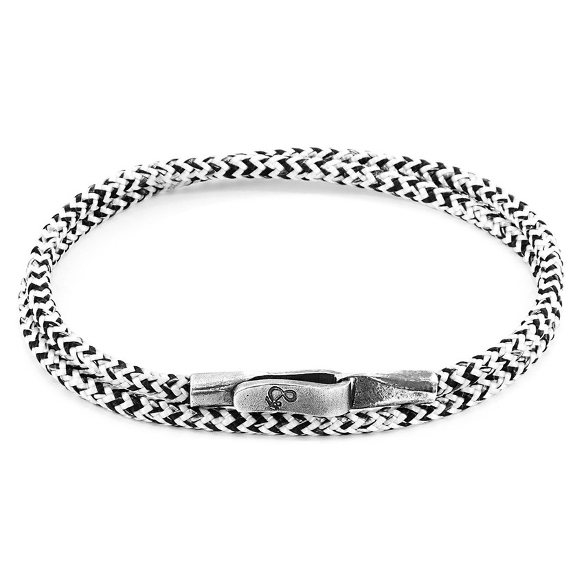 Anchor & Crew White Noir Liverpool Silver and Rope Bracelet