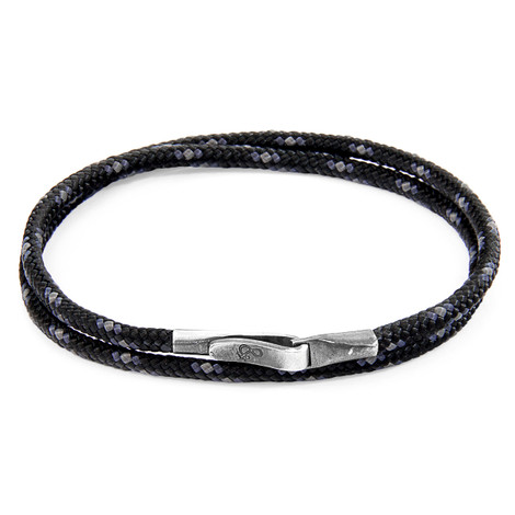 Anchor & Crew Black Liverpool Silver and Rope Bracelet