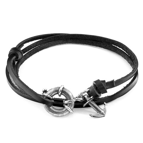 Anchor & Crew Coal Black Clyde Silver and Flat Leather Bracelet