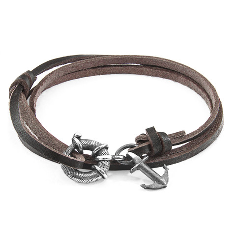 Anchor & Crew Dark Brown Clyde Silver and Flat Leather Bracelet