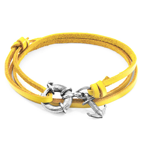 Anchor & Crew Mustard Yellow Clyde Silver and Flat Leather Bracelet