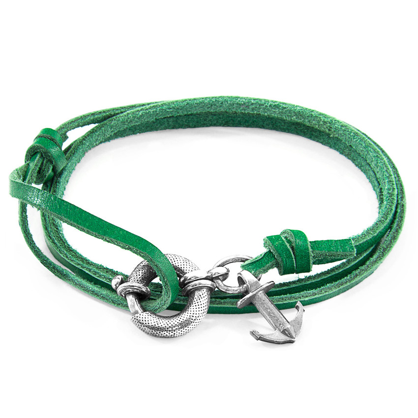 Anchor & Crew Fern Green Clyde Silver and Flat Leather Bracelet
