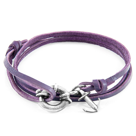 Anchor & Crew Grape Purple Clyde Silver and Flat Leather Bracelet