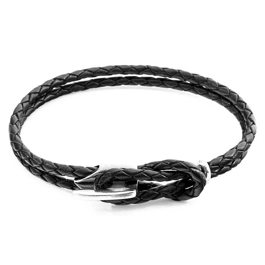 Anchor & Crew Coal Black Padstow Silver and Braided Leather Bracelet
