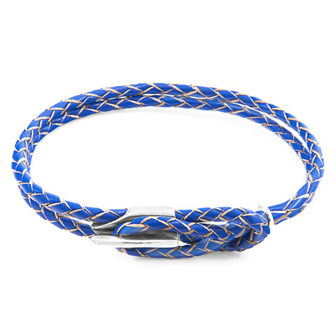 Anchor & Crew Royal Blue Padstow Silver and Braided Leather Bracelet