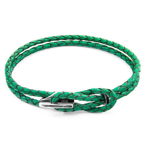 Anchor & Crew Fern Green Padstow Silver and Braided Leather Bracelet