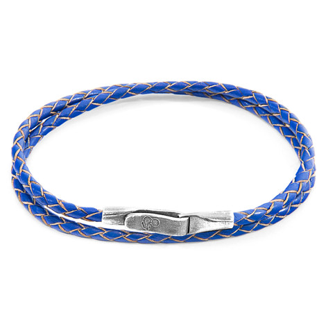 Anchor & Crew Royal Blue Liverpool Silver and Braided Leather Bracelet