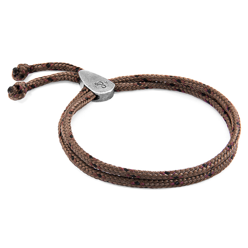 Anchor & Crew Brown Pembroke Silver and Rope Bracelet