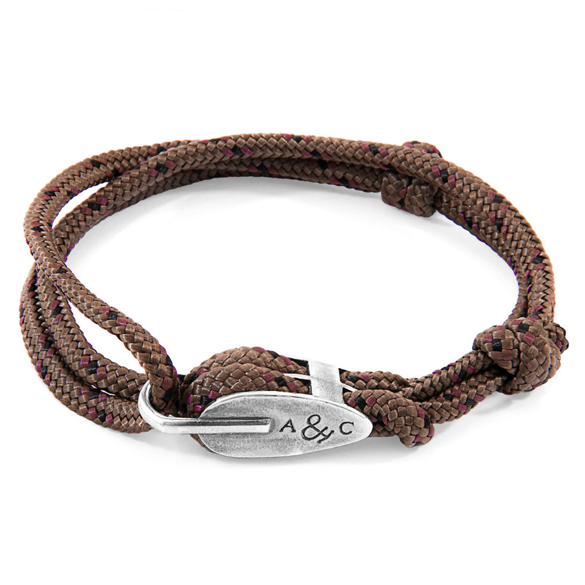 Anchor & Crew Brown Tyne Silver and Rope Bracelet