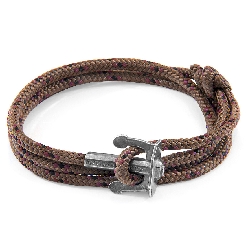 Anchor & Crew Brown Union Silver and Rope Bracelet