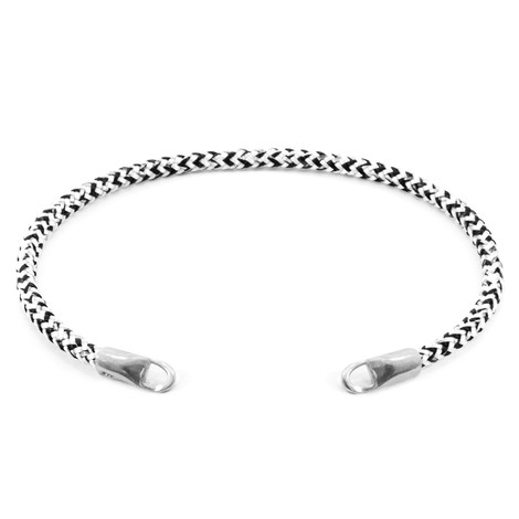 Anchor & Crew White Noir CUSTOM Bracelet Rope and Silver Line