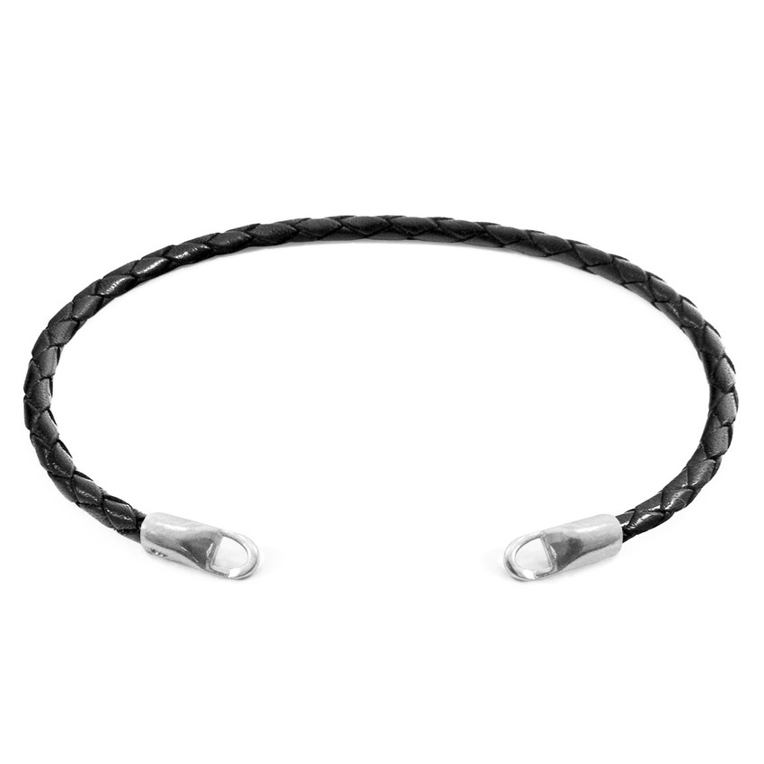 Anchor & Crew Coal Black CUSTOM Bracelet Leather and Silver Line