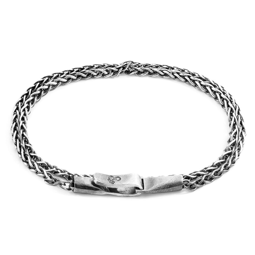 Anchor & Crew Staysail Double Sail Silver Chain Bracelet