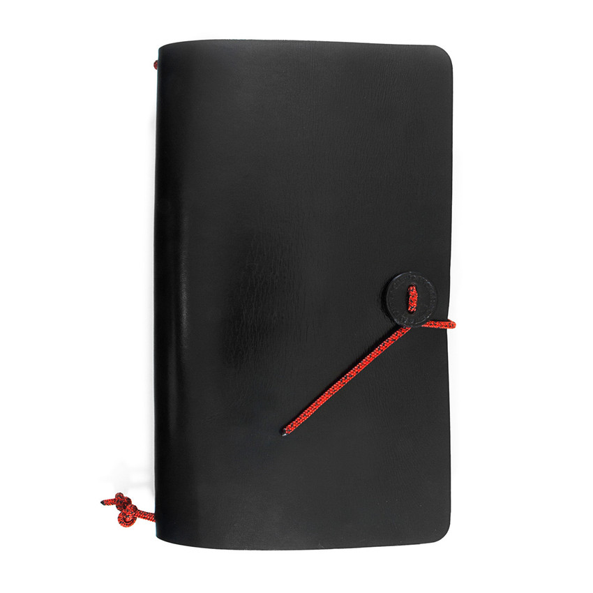 Anchor & Crew Black Medium Travellers Leather and Red Noir Rope Journal