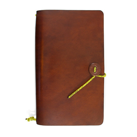 Anchor & Crew Brown Medium Travellers Leather and Yellow Noir Rope Journal