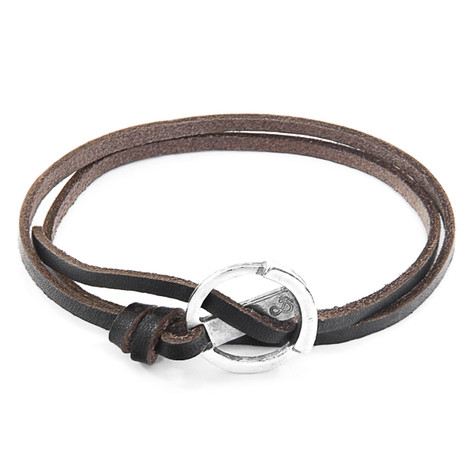 Anchor & Crew Dark Brown Ketch Anchor Silver and Flat Leather Bracelet