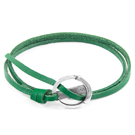 Anchor & Crew Fern Green Ketch Anchor Silver and Flat Leather Bracelet