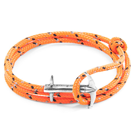 Anchor & Crew Orange Admiral Silver and Rope Bracelet