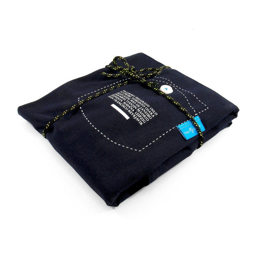 Anchor & Crew Oxford Blue Travel Print Organic Cotton T-Shirt As Wrapped