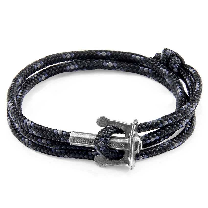 Anchor & Crew Black Union Silver and Rope Bracelet