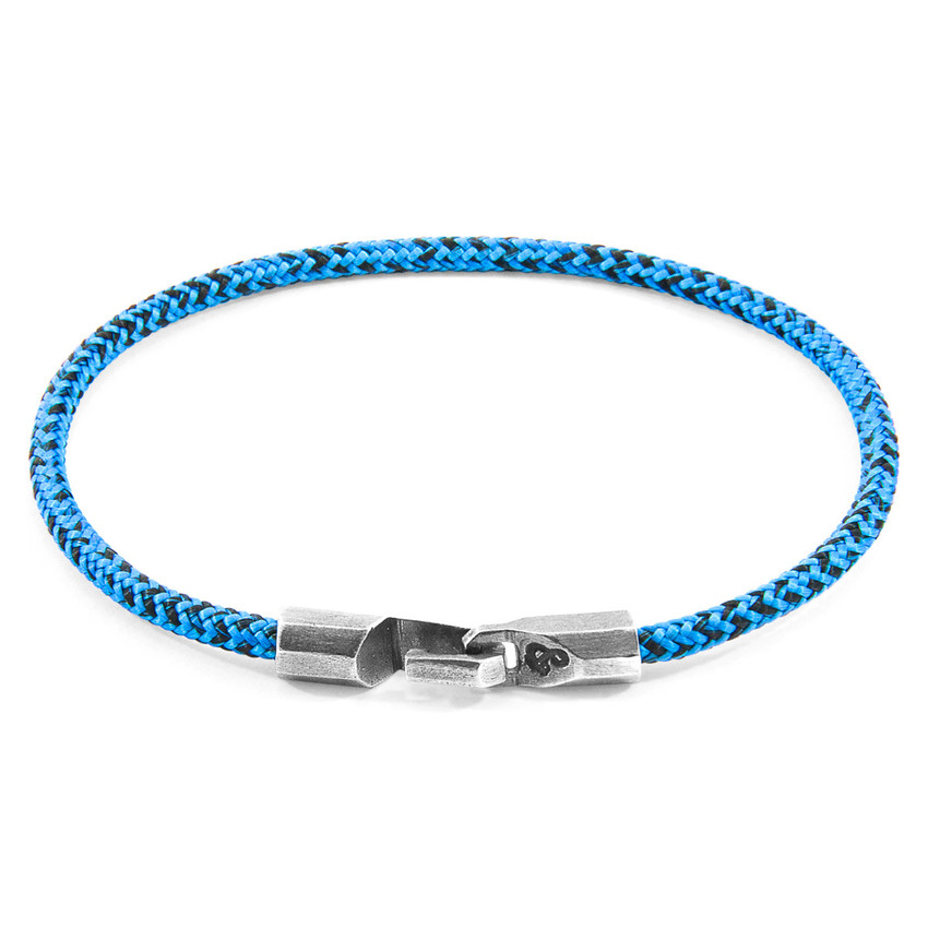 Anchor & Crew Blue Noir Talbot Silver and Rope Bracelet
