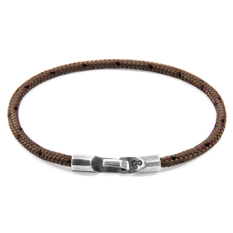 Anchor & Crew Brown Talbot Silver and Rope Bracelet