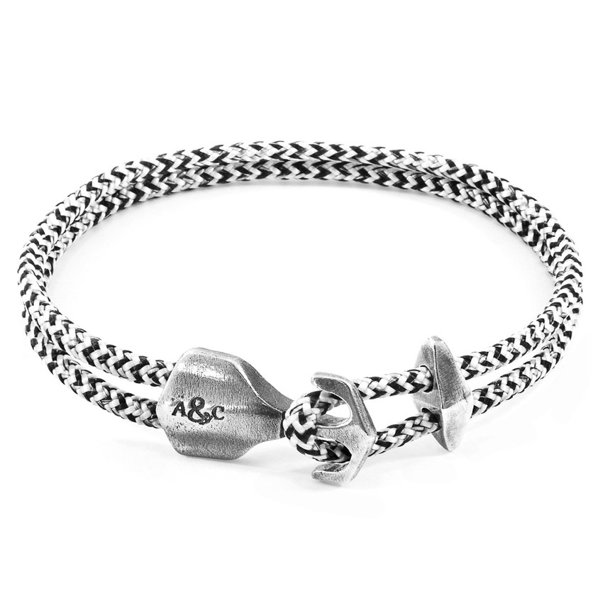 Anchor & Crew White Noir Delta Silver and Rope Bracelet