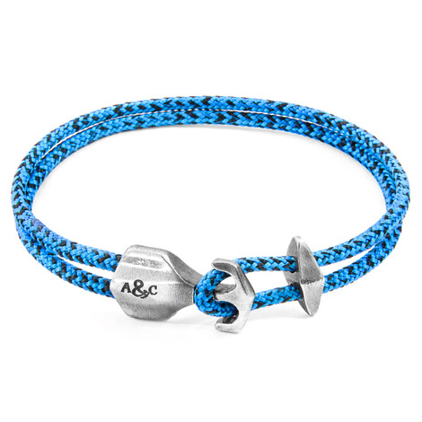 Anchor & Crew Blue Noir Delta Silver and Rope Bracelet