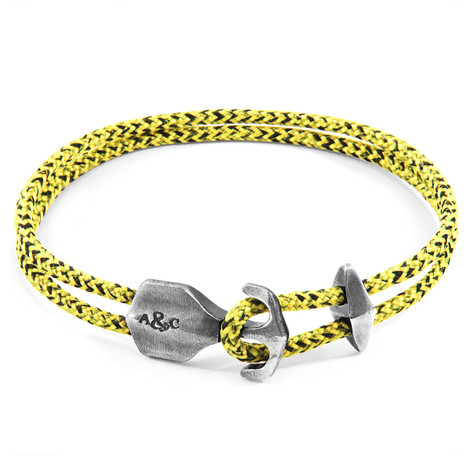 Anchor & Crew Yellow Noir Delta Silver and Rope Bracelet