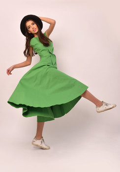 The Gryphon Green Cotton Midi Dress