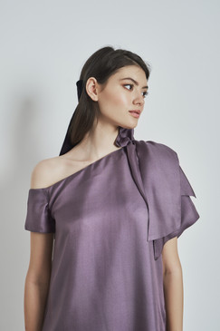 Tiger Lily Dress (One-shoulder A-cut Taupe Silk Dress)