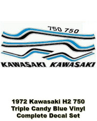 H2 750 1972 Triple - Complete Decal Set - Candy Blue - Vinyl