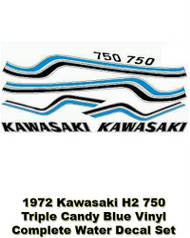 H2 750 1972 Triple - Complete Decal Set - Candy Blue - Water