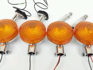 CB750 Turn Signal Set w/ Stems Brackets Rubber Ground Mount Lens Hardware