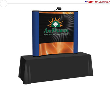 Arise™ 6′ Curved Pop Up Tabletop Display w/ Central Mural