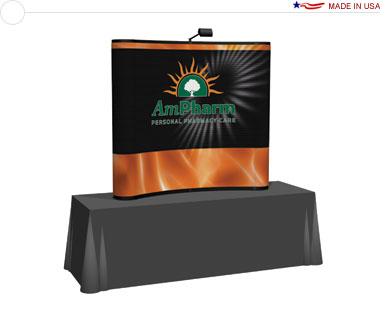 Arise™ 6′ Curved Pop Up Tabletop Display w/ Full Mural