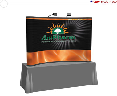 Arise™ 8′ Curved Pop Up Tabletop Display w/ Full Mural
